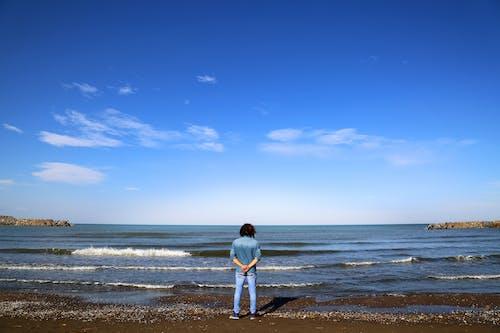 Free stock photo of alone man, beach, behind the sea