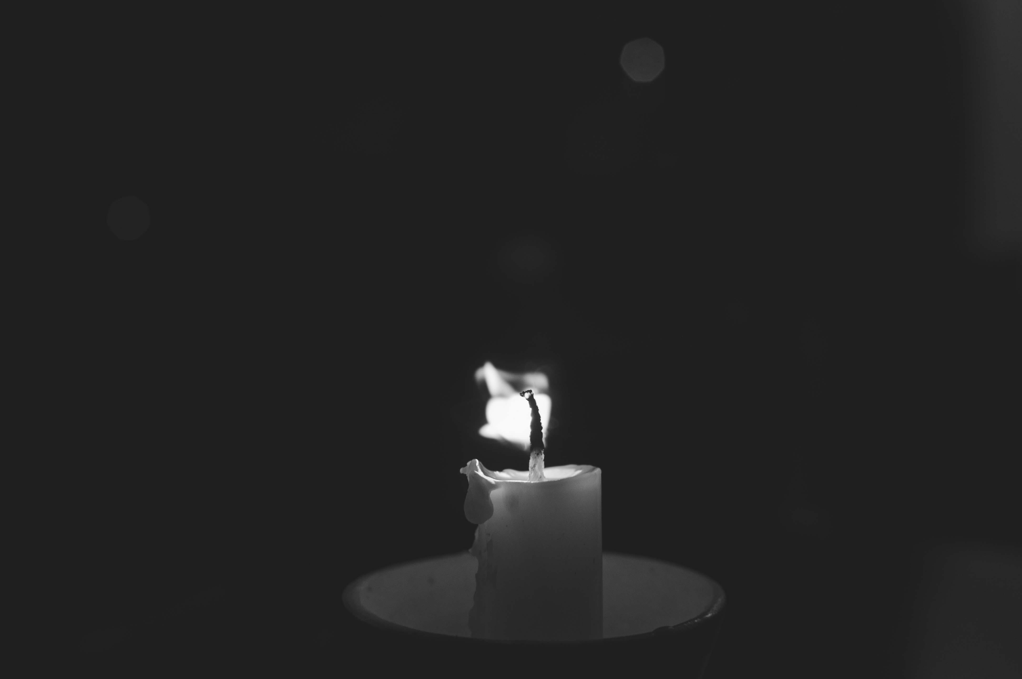 Free stock photo of black and white, black and white photograph, burning, candle