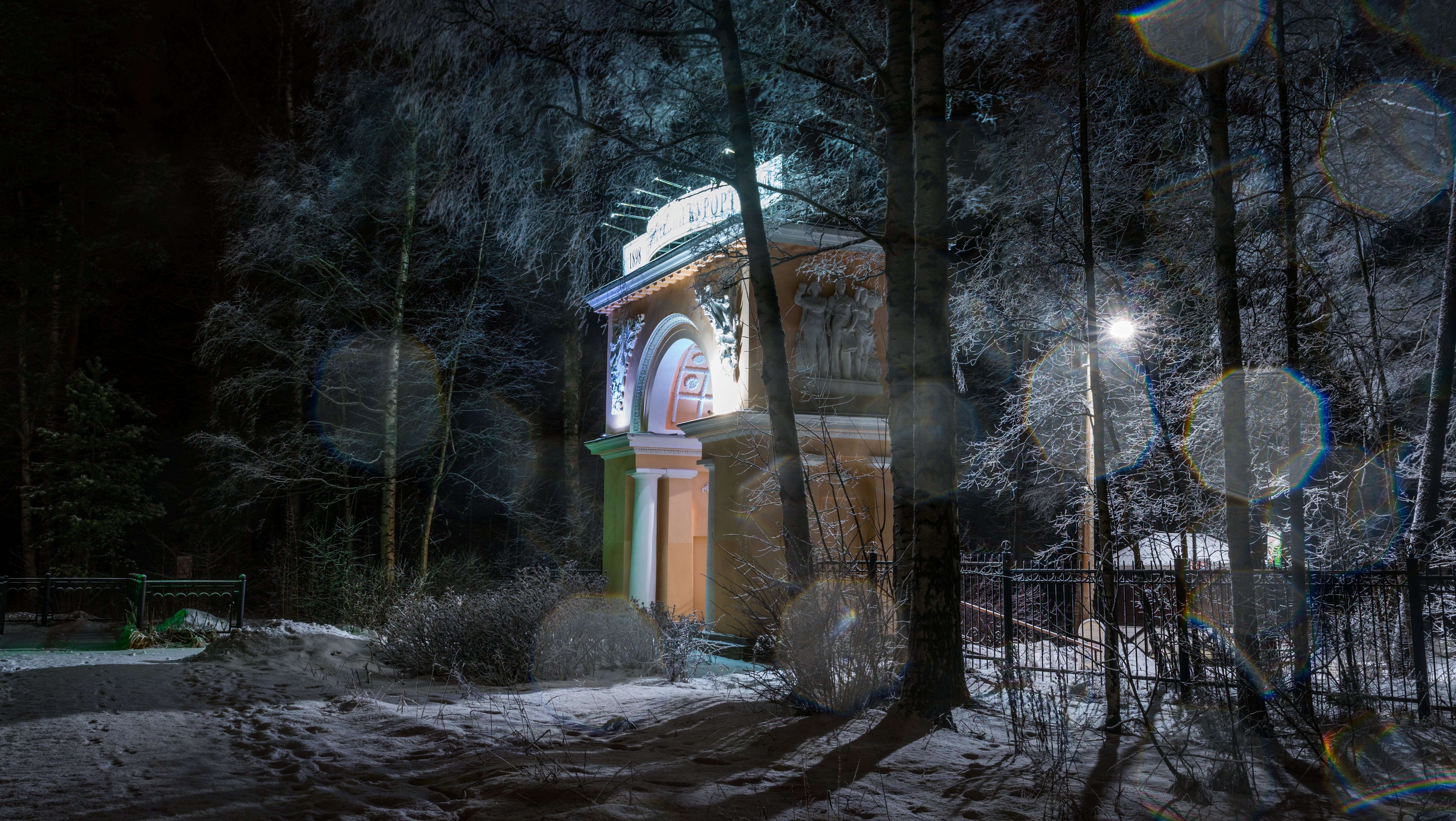 Free stock photo of snow, landscape, park, arch