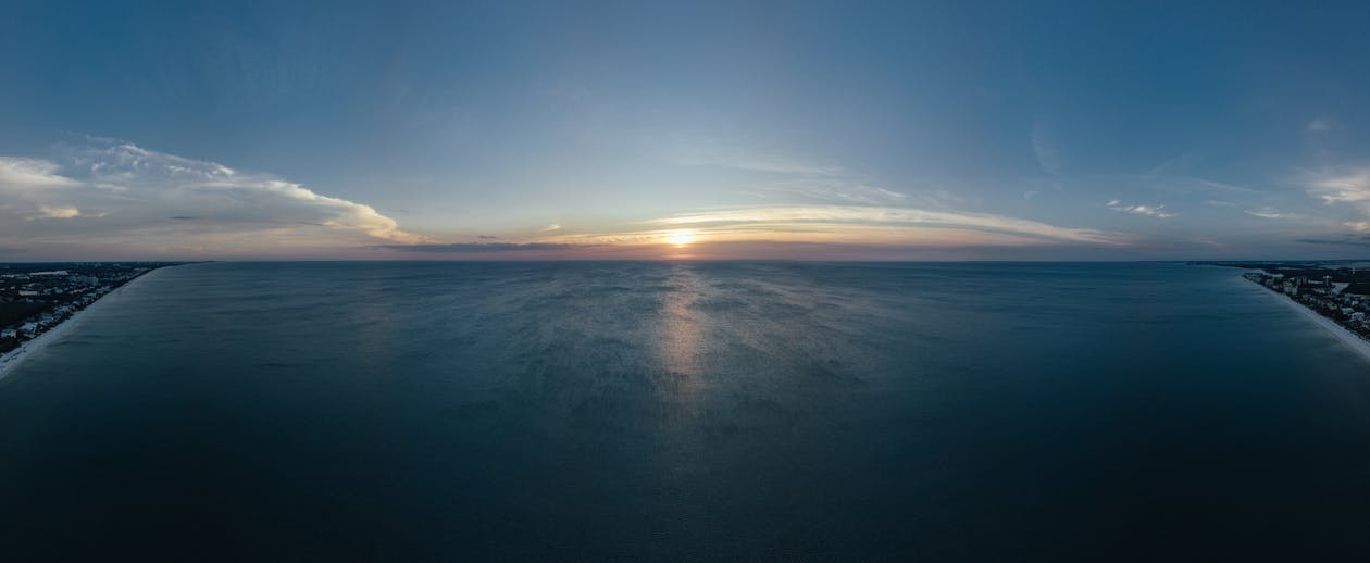 horizont, idylický, léto