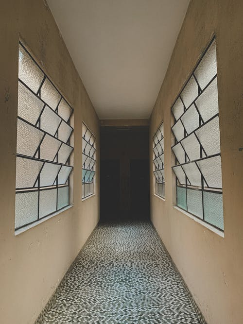 Modern corridor with rows of windows