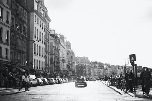 Grayscale Photo of Town