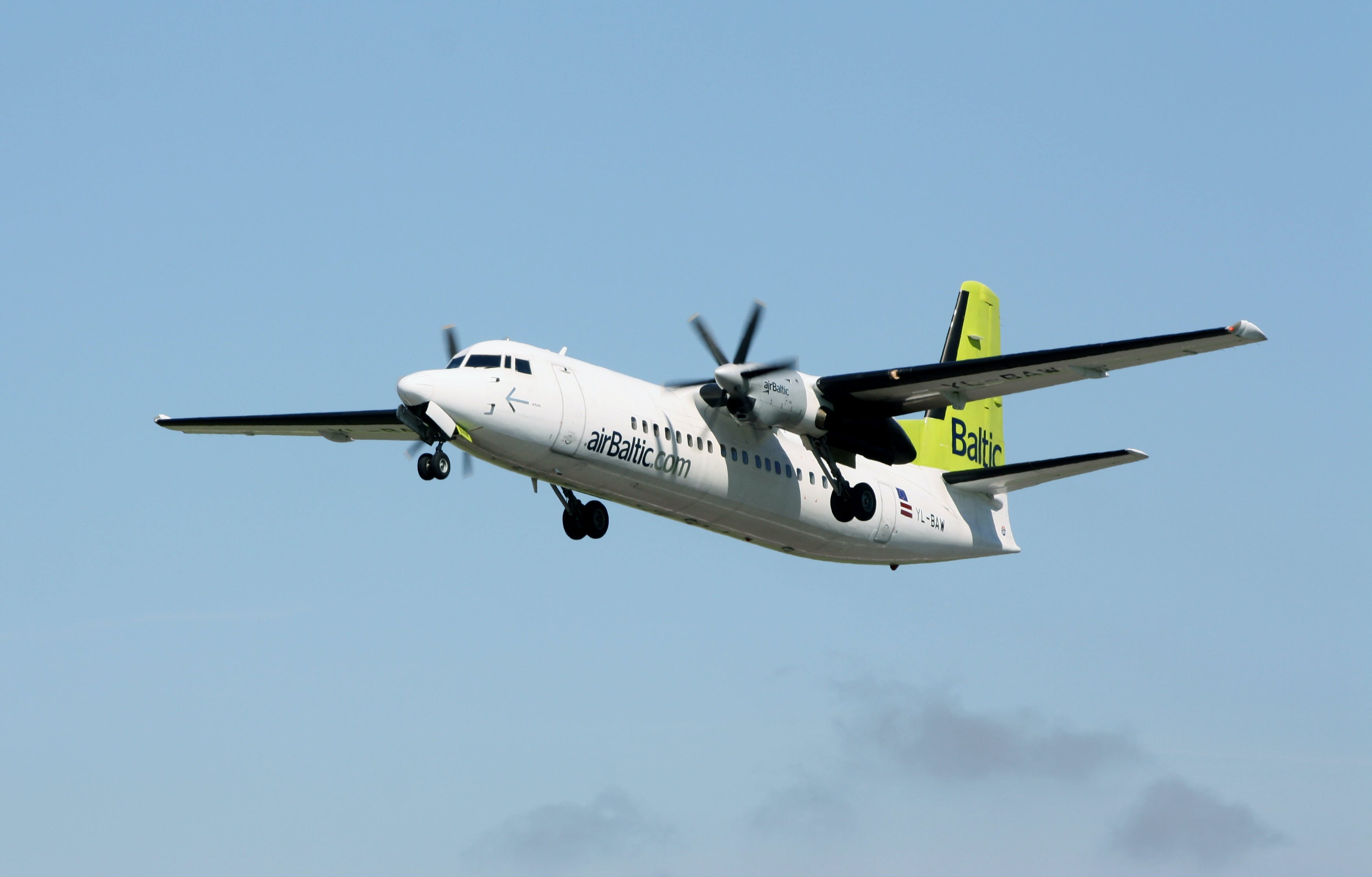 Free stock photo of airbaltic, airplane, airplane flying