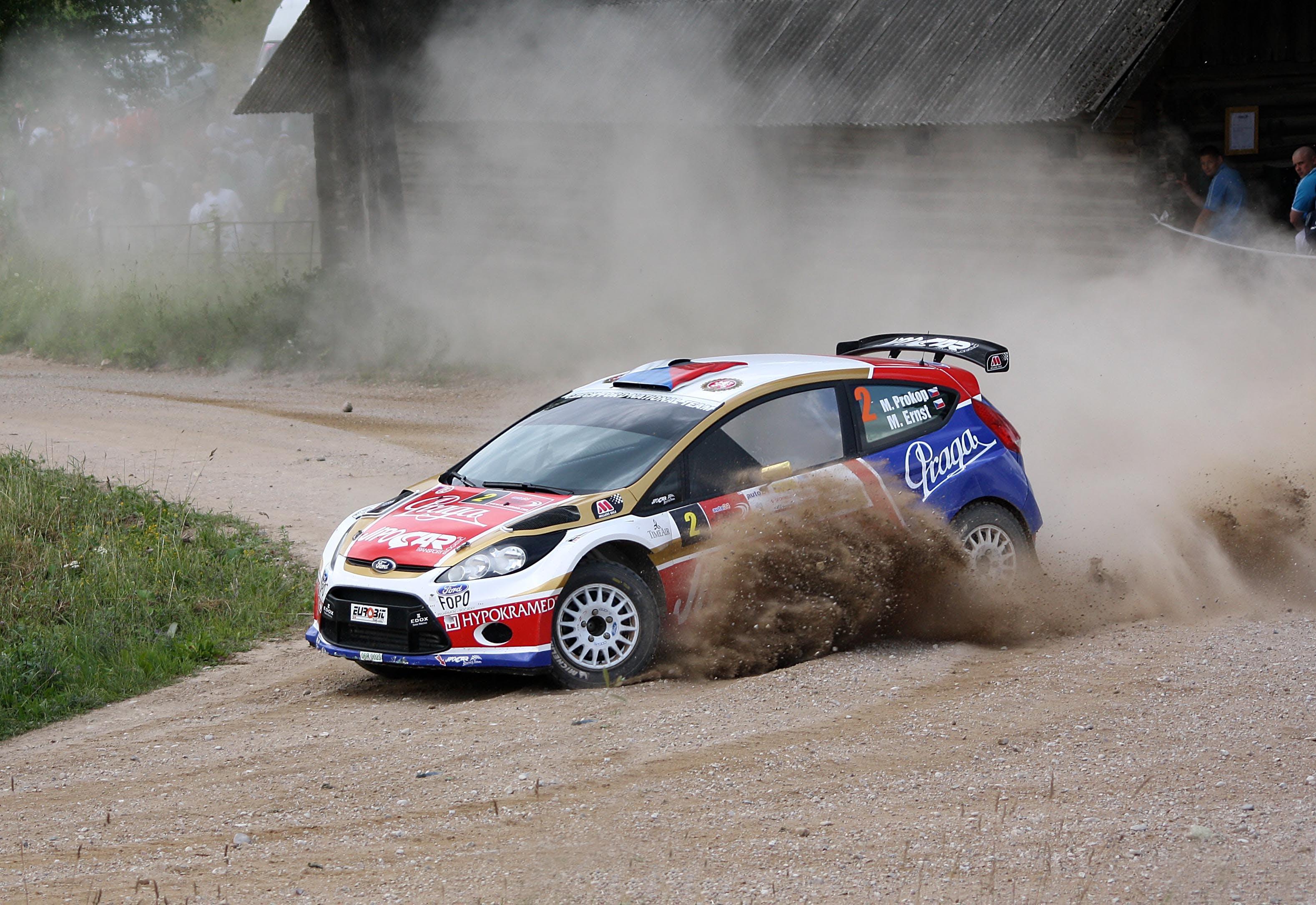 Free stock photo of estonia, gravel road, rally car