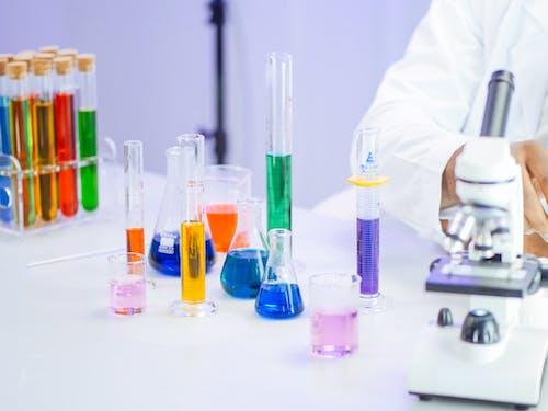 Colorful Liquids in Laboratory Glasswares