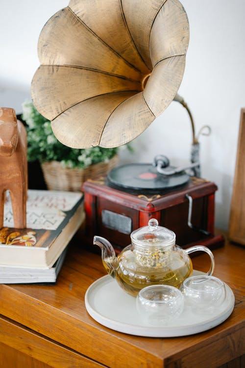 Clear Glass Teapot on White Tray