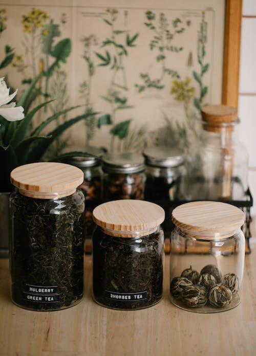 Black and Brown Glass Jars