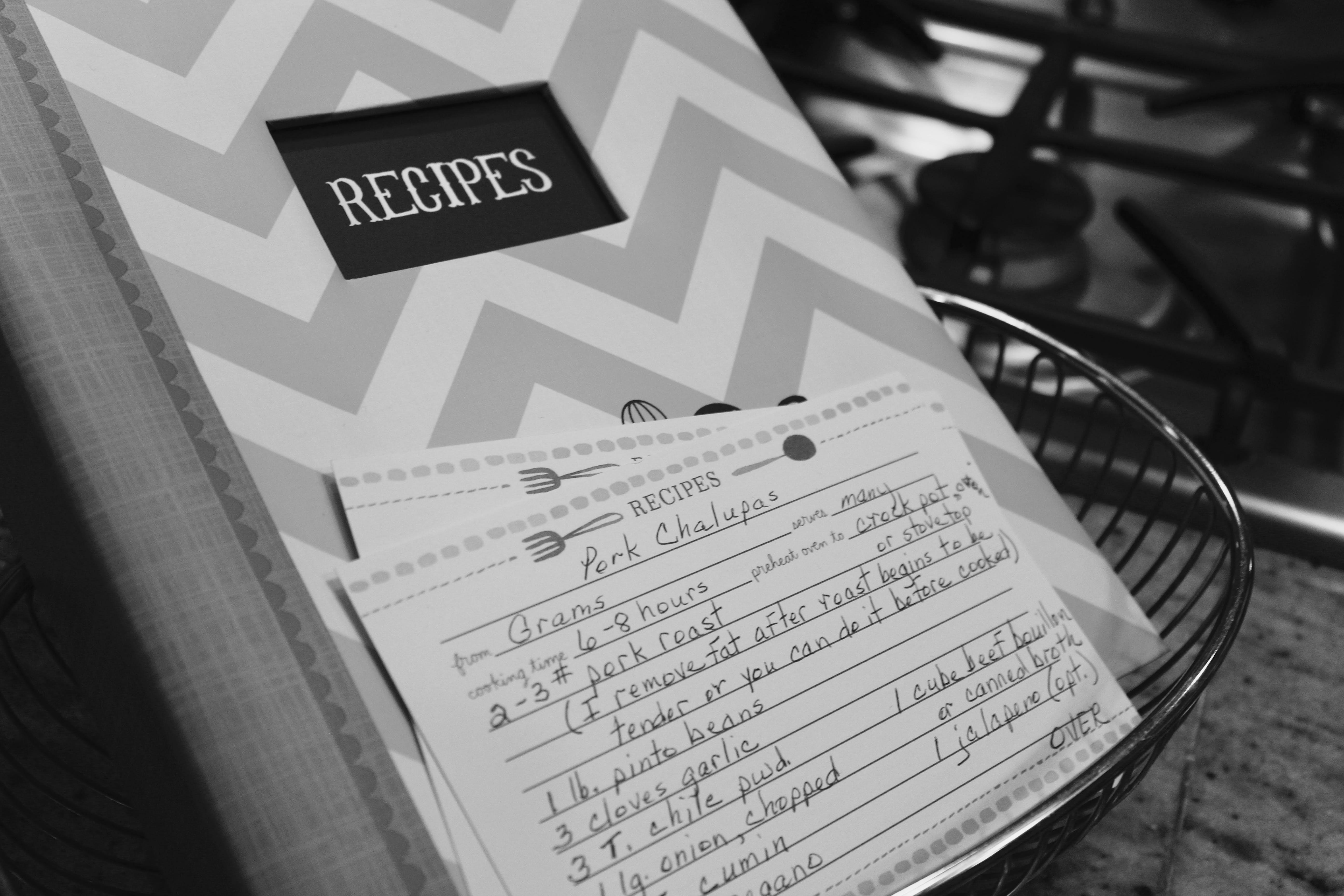 White and Gray Chevron Print Recipes Book