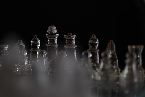 Clear Glass Chess Piece Set