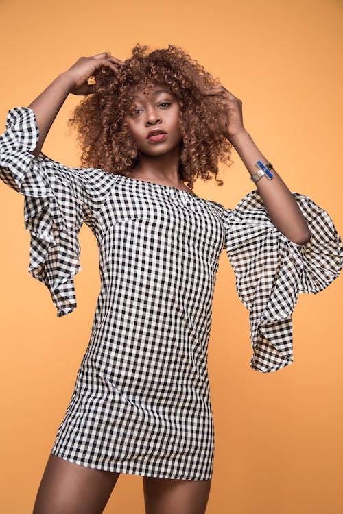 afrikansk amerikan kvinna, flicka, fotografering