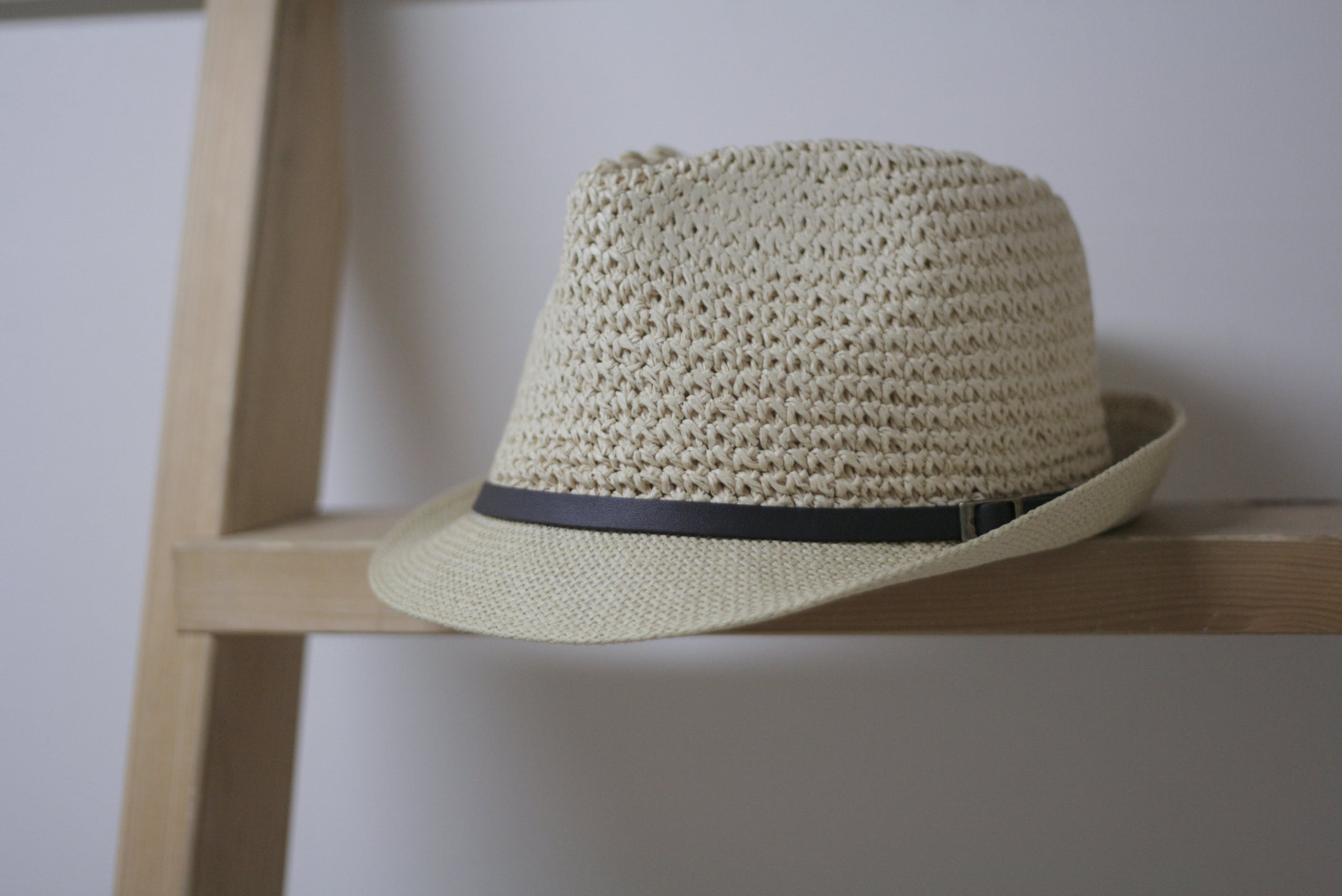 White Wicker Fedora Hat