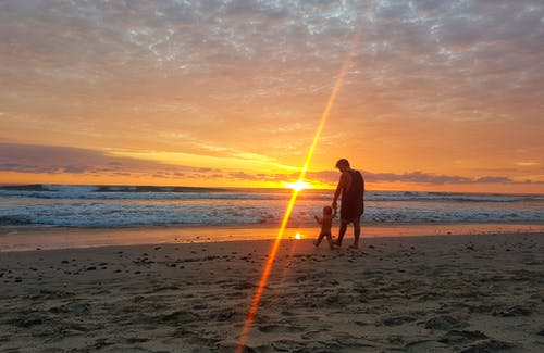 Free stock photo of baby, beach, father