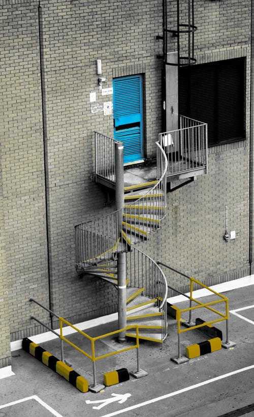 Free stock photo of blue, fire escape, from above, looking down