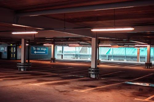 Free stock photo of car park, empty, hue, lights