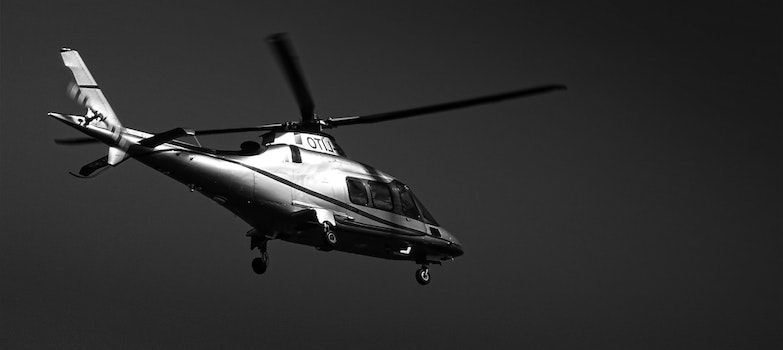 Monochrome Photography of Helicopter