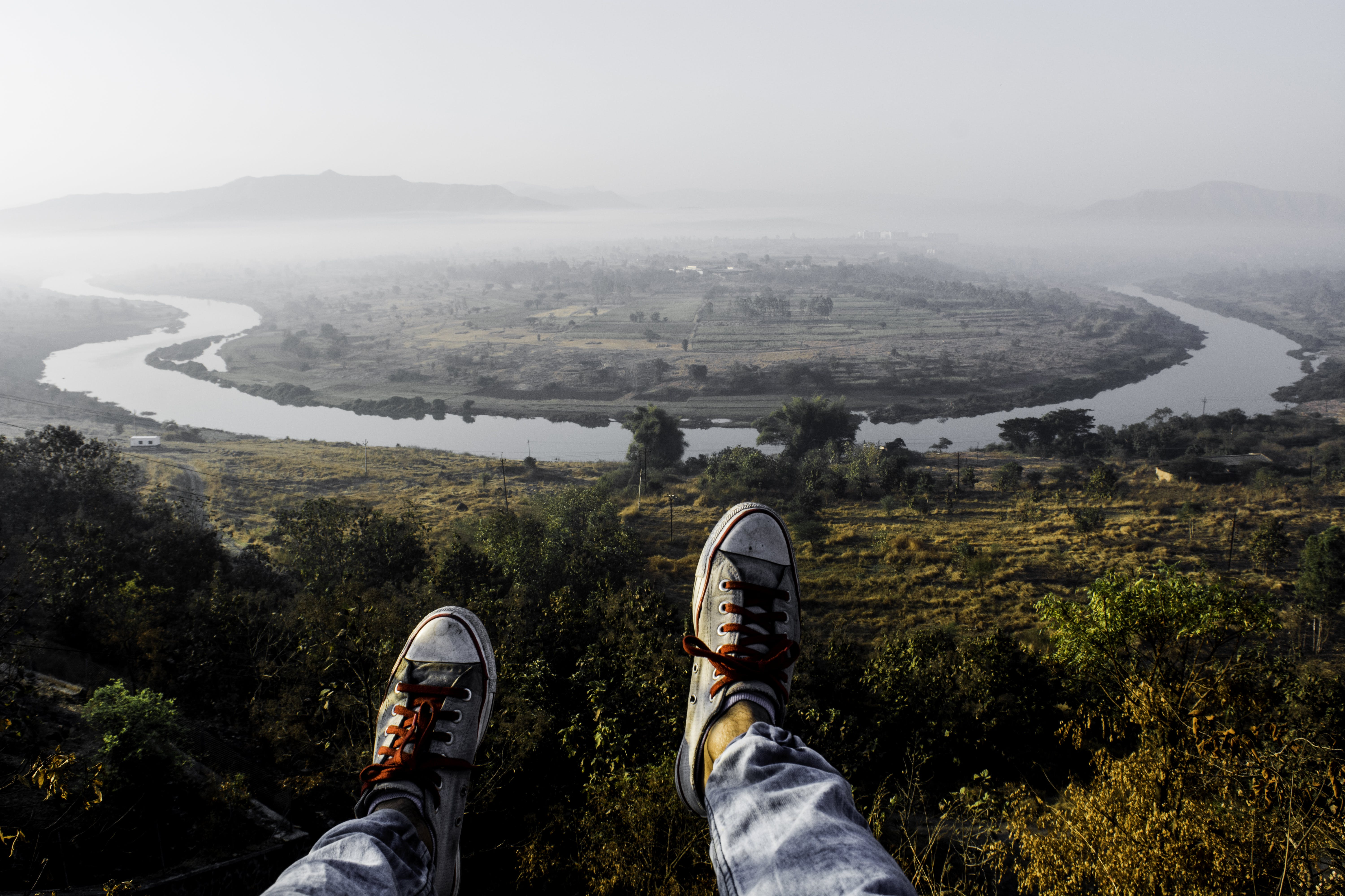 Free stock photo of landscape, sunrise, fog, shoes