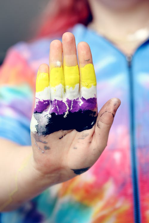 Person's Hand Covered With Paint