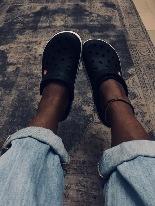 Free stock photo of crocs, happy feet, rolled up jeans