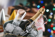 Selective Focus Photography of Brown Labeled Bottle and Two Clear Glass Champagne Flutes