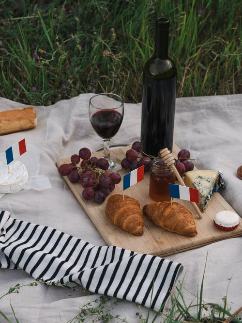 Bread and Wine Bottle on Table