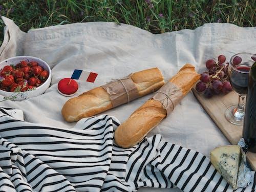 Bread on White and Black Stripe Textile