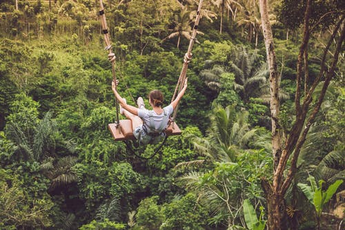 Woman Riding Hanging Swing in Forest