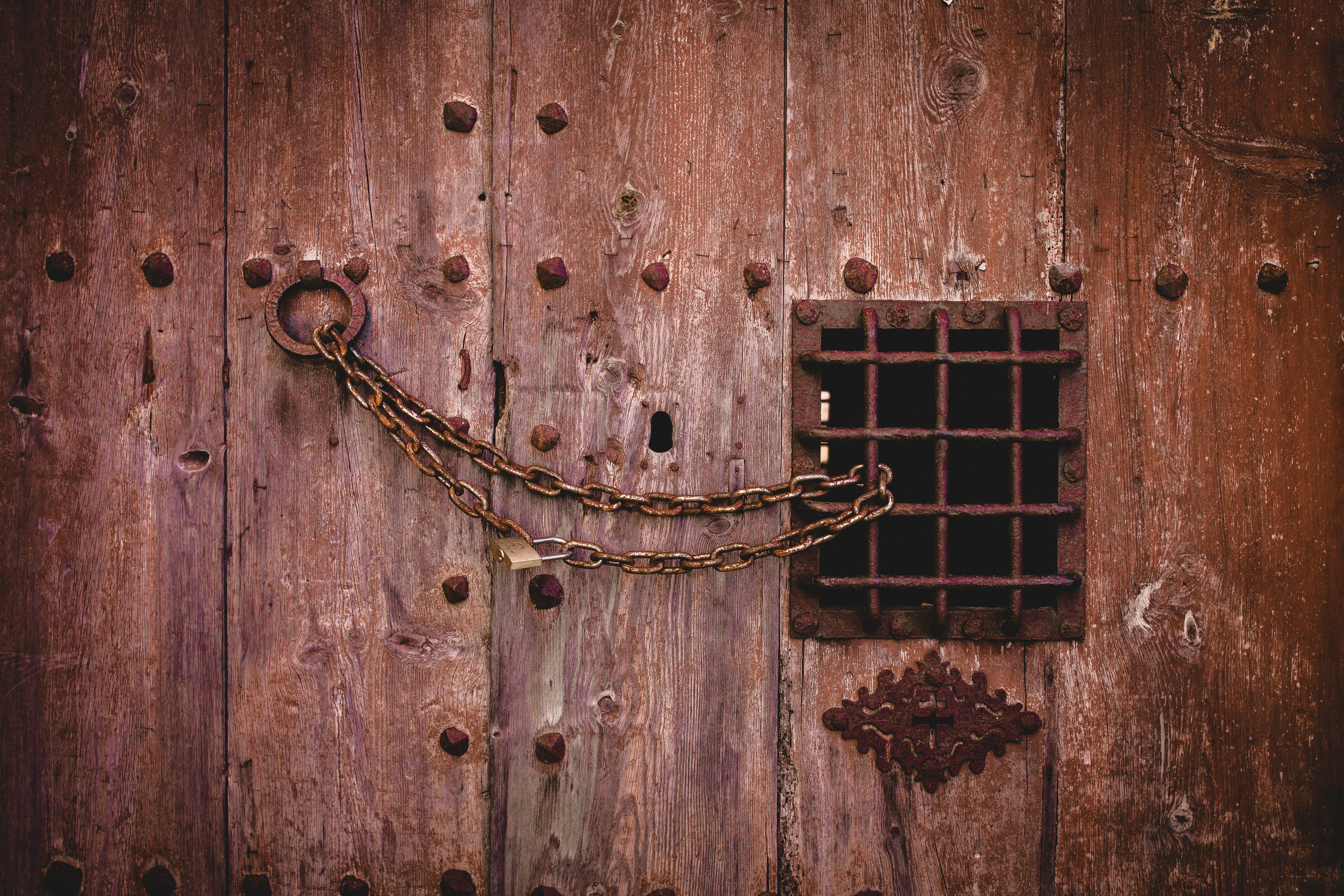 Free stock photo of door, old, together, chains