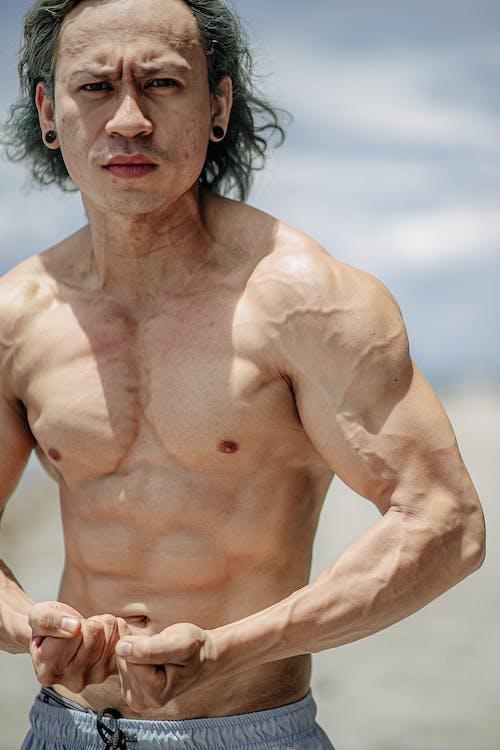 Základová fotografie zdarma na téma bez trička, biceps, cvičení