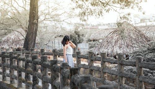 Imagine de stoc gratuită din arbori, cer, colibe, fată