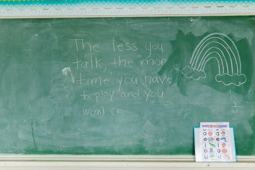 Green Chalk Board With Rainbow and Written Message