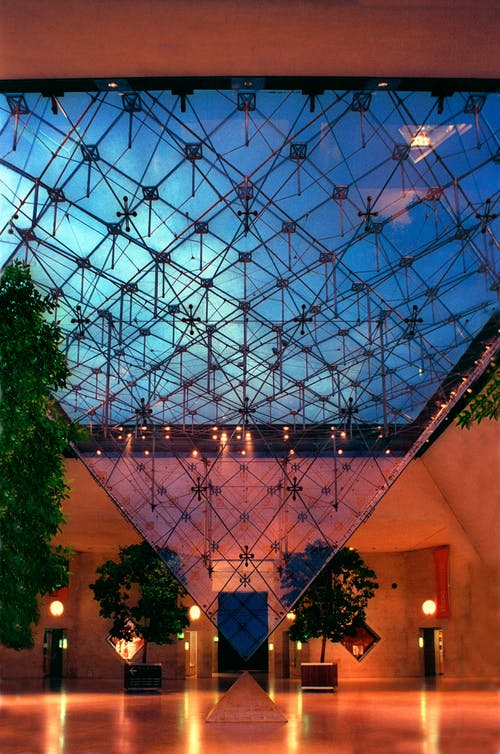 Free stock photo of inverted, inverted pyramid, louvre
