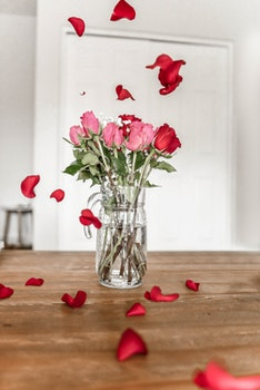 Pink and Red Roses on Clear Glass Pitcher