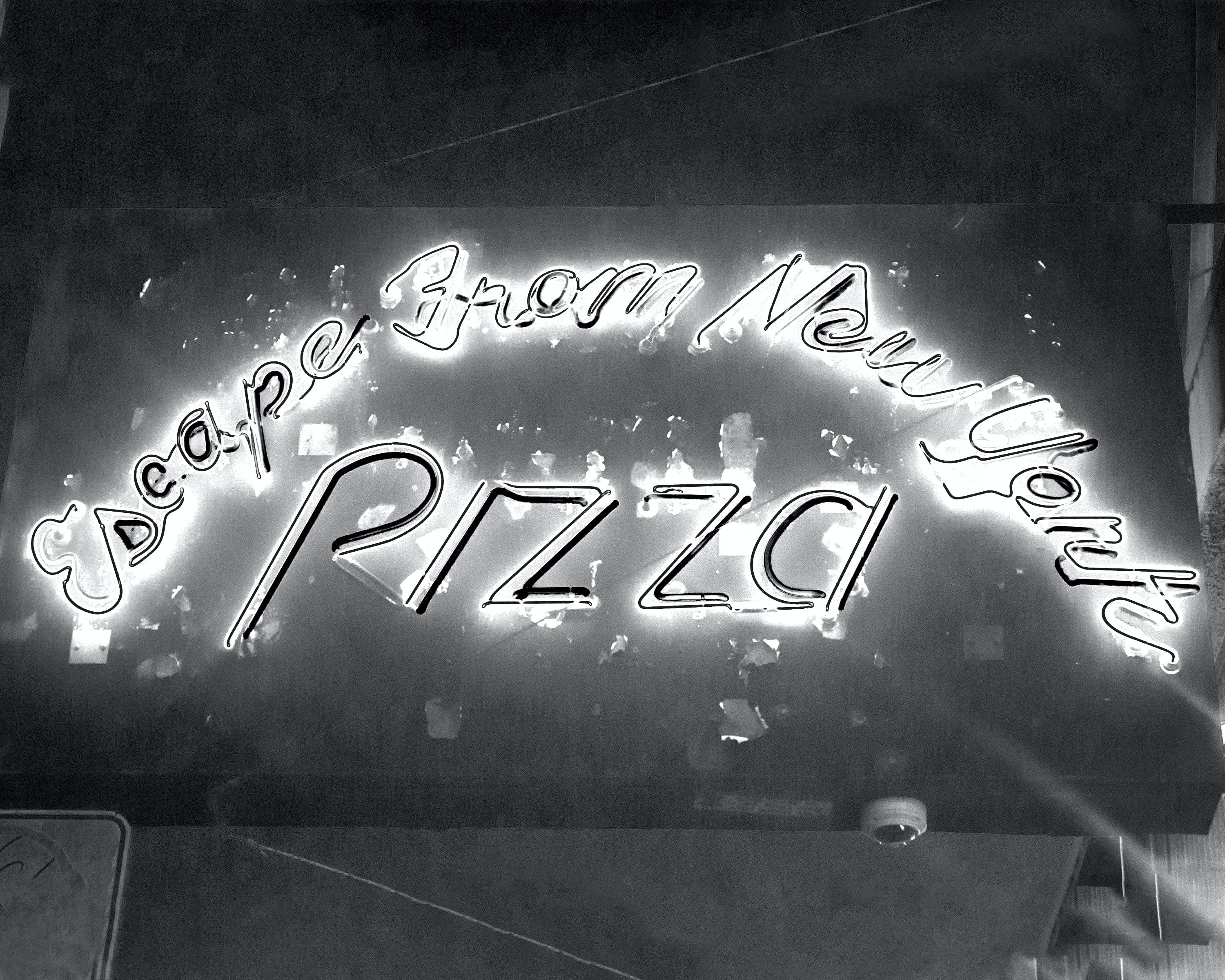 Free stock photo of black and white, neon sign, new york, pizza