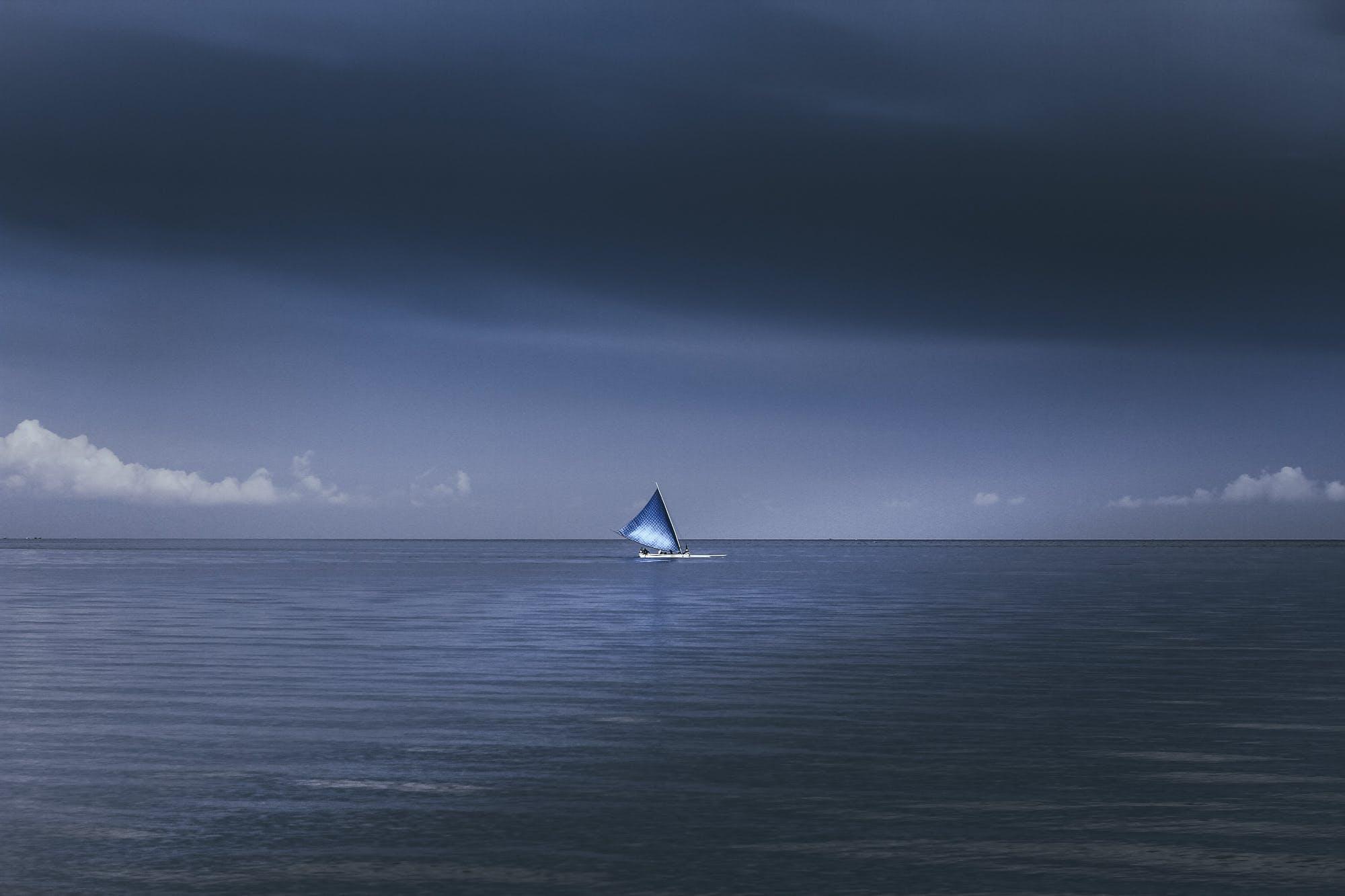 Free stock photo of blue, boat, landscape, minimalism