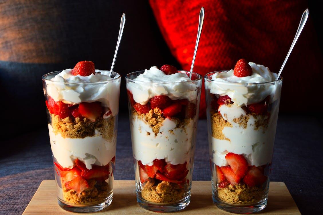 Three Strawberry Desserts Served in Glasses