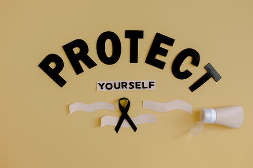 Ribbon representing skin cancer with tube