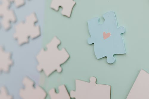 Blue and Pink Puzzle Pieces