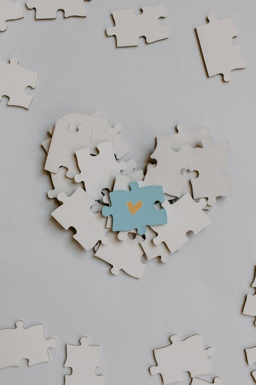 Blue and Brown Jigsaw Puzzle Piece