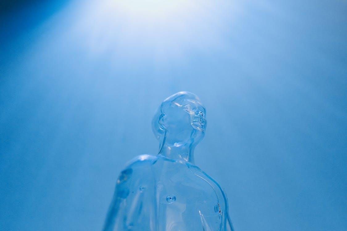 Transparent Mannequin on Blue Background