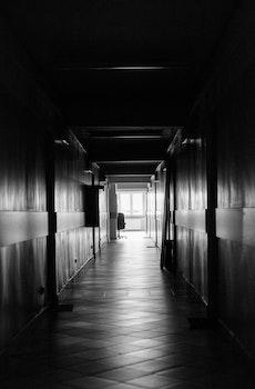 Free stock photo of black-and-white, dark, architecture, hallway