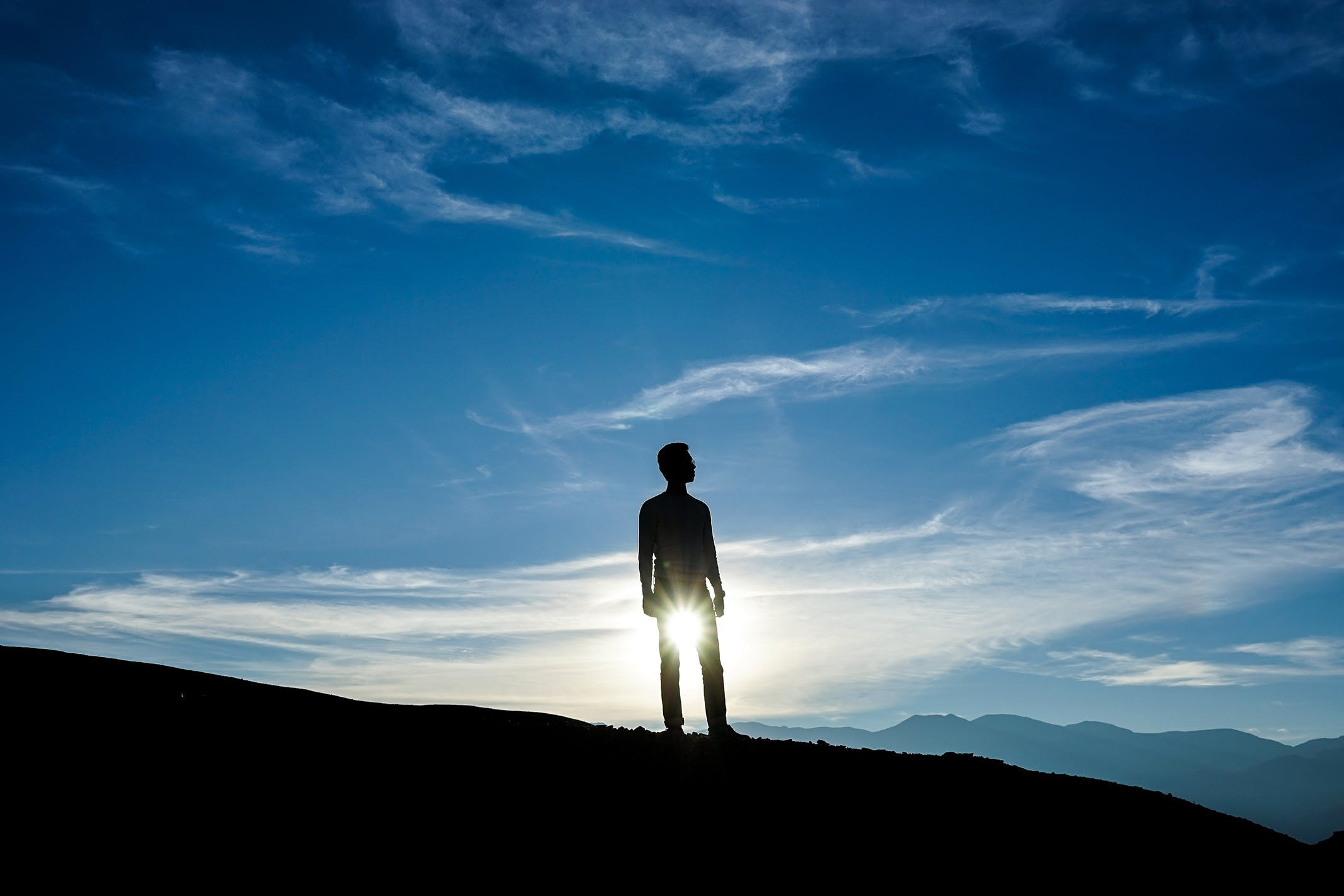 Free stock photo of blue sky, boy, silhouette, sun