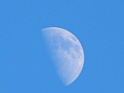 Free stock photo of half moon, half moon in the blue sky