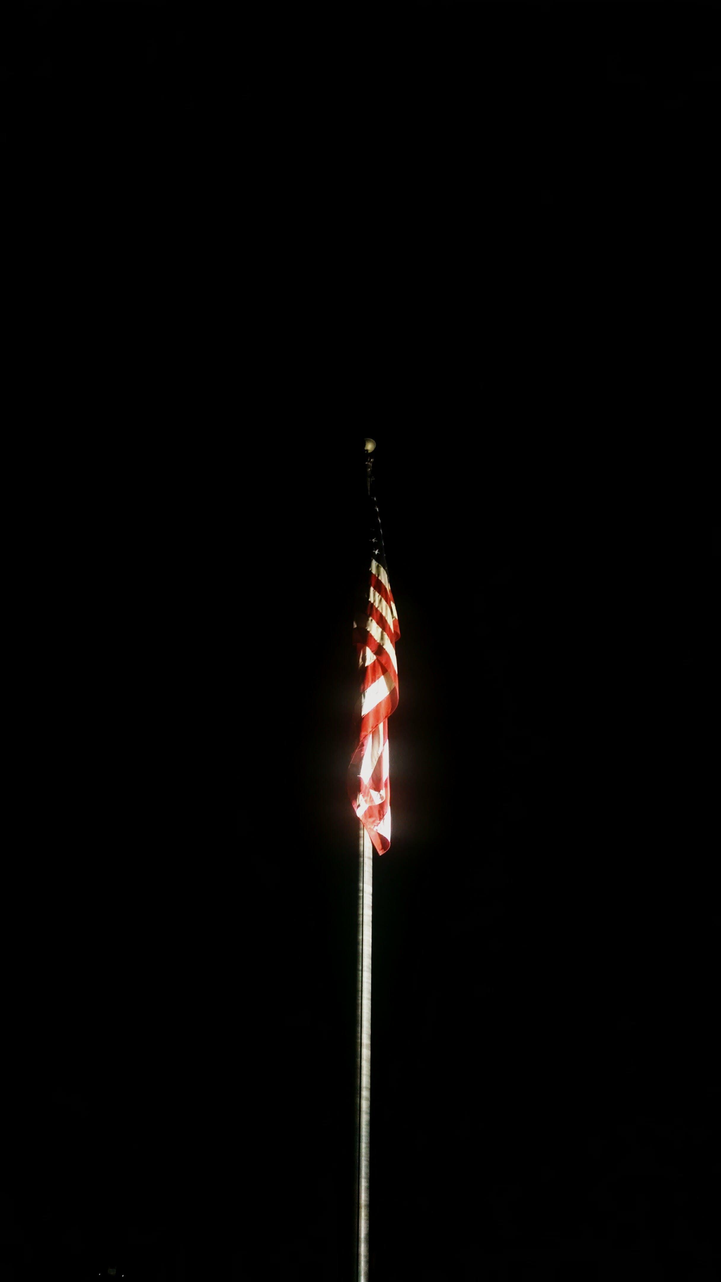 Free stock photo of america, flag, flagpole, spotlight