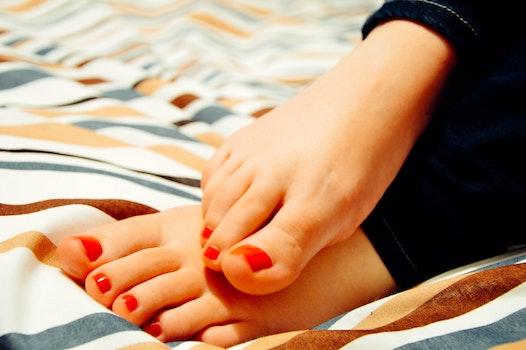 Free stock photo of feet, close-up, barefoot, nail polish