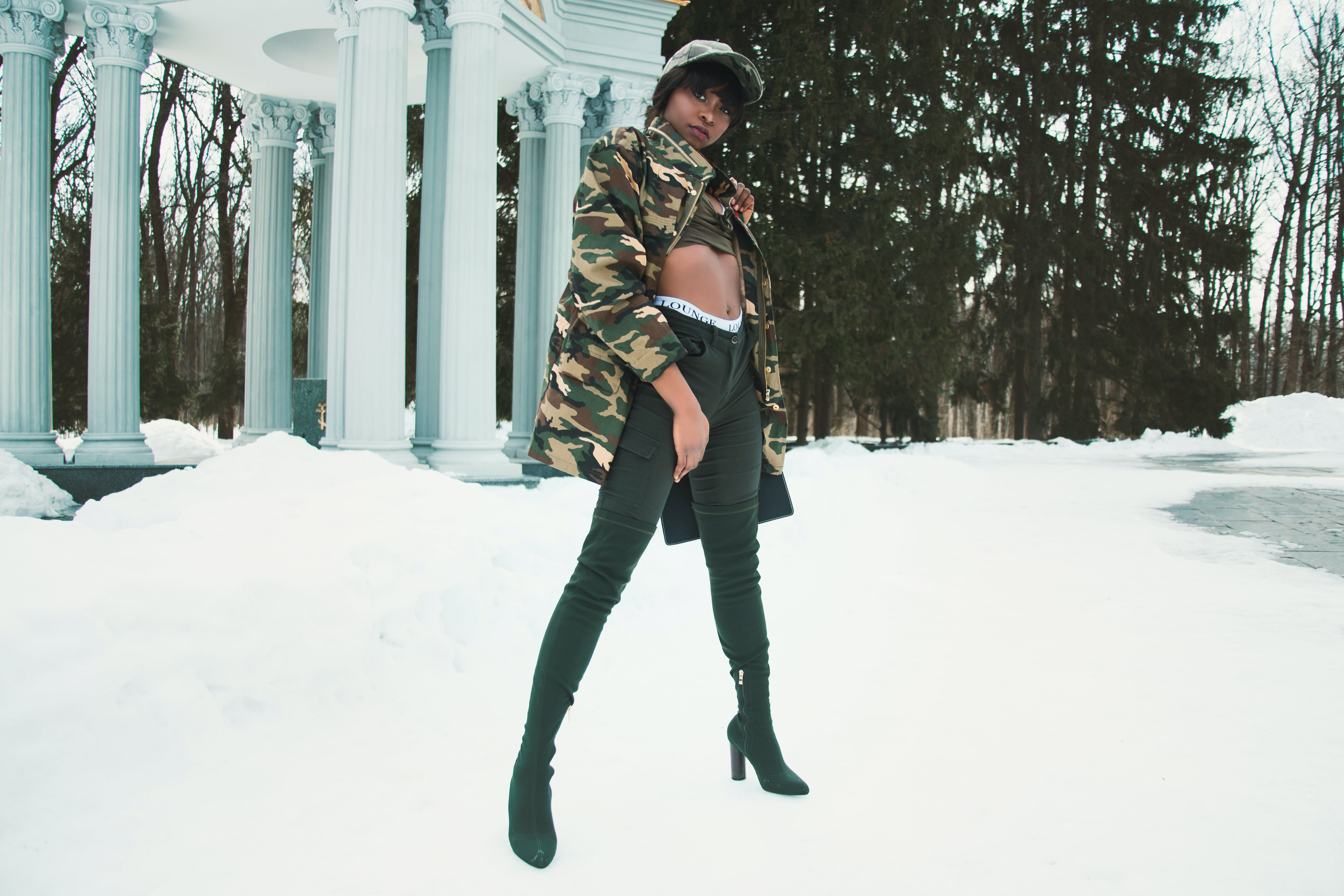 Woman Wearing Camouflage Jacket Standing on Snow