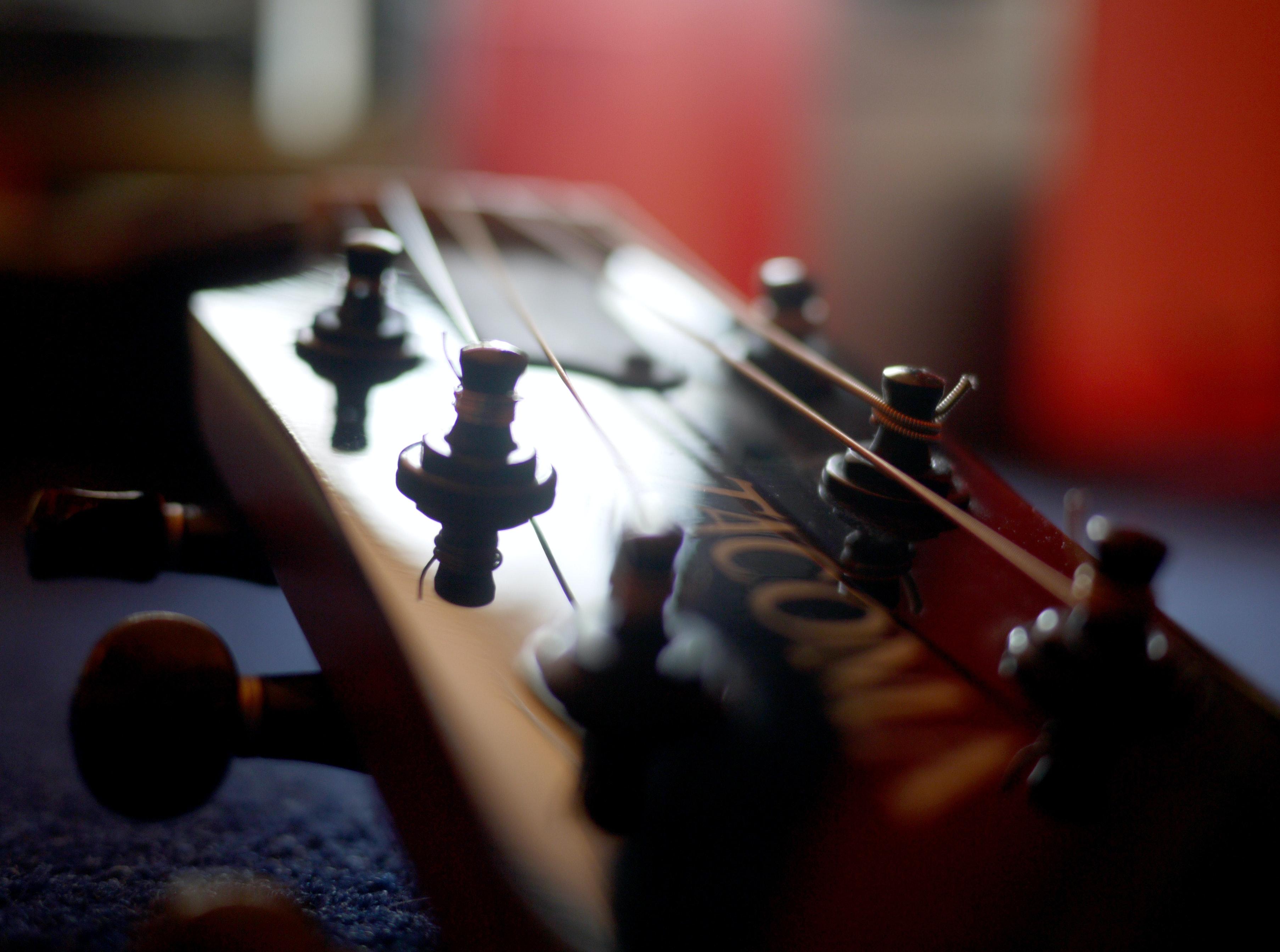 Free stock photo of bokeh, guitar head, guitar strings