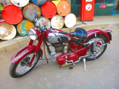 Free stock photo of antique, maroon, motorbikes