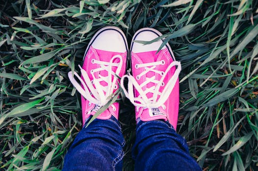 Free stock photo of feet, grass, shoes, converse