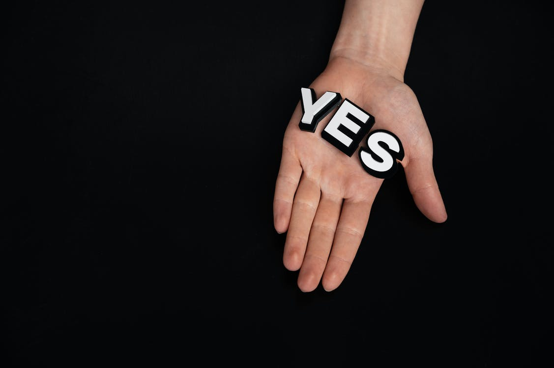 Letters on Person's Palm