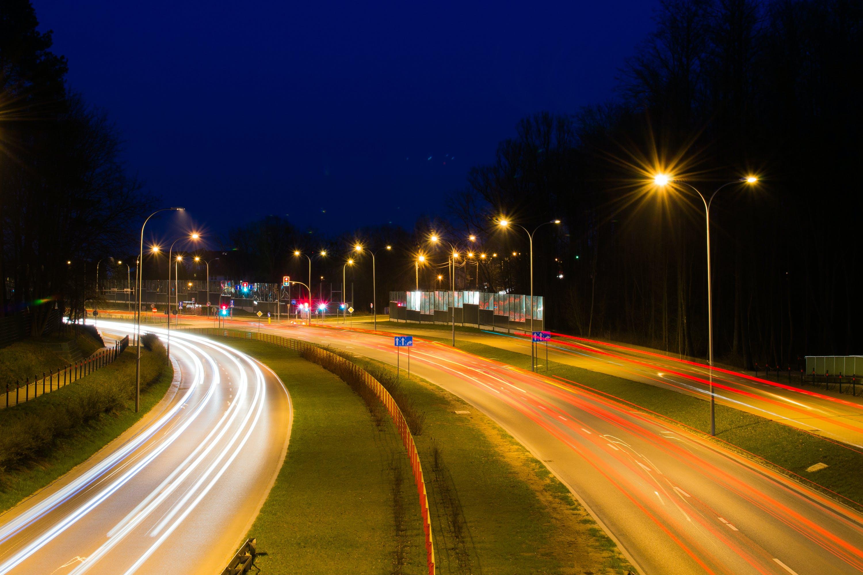 Free stock photo of road, lights, long-exposure, highway